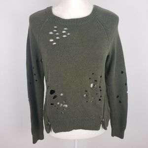 Express Distressed Green Sweater